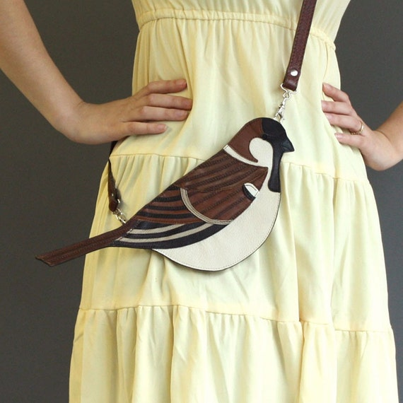 Leather Sparrow Clutch Bag
