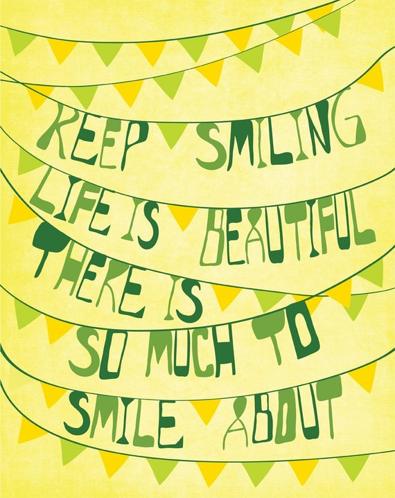 "Inspiration Print Art ""Keep Smiling"" 11x14 Yellow & Green Modern Art Poster with Inspirational Saying"