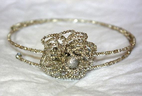 Silver Beaded Headband it can also be worn in an updo and a necklace.