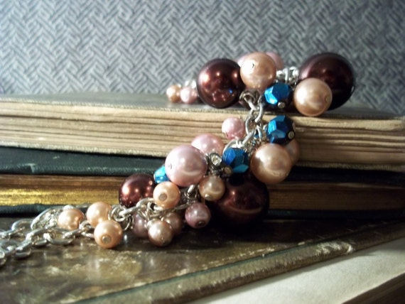 Pearl wire wrapped necklace-  Madison pink brown and blue
