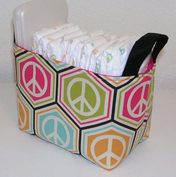 Peace Sign Symbol Fabric Organizer Bin Basket.... Ready To Ship
