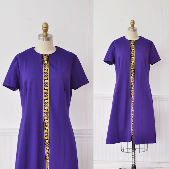 Vintage 60s ROYAL PURPLE Folk Heart Dress by MariesVintage on Etsy from etsy.com