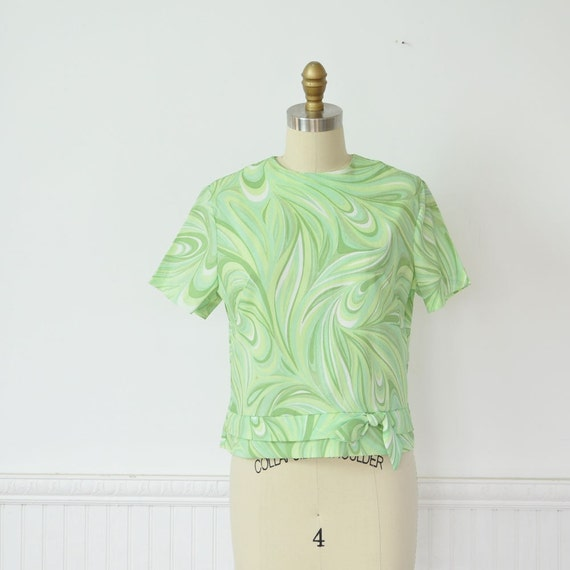 Vintage 60s MINT SWIRL Cropped Blouse by MariesVintage on Etsy from etsy.com