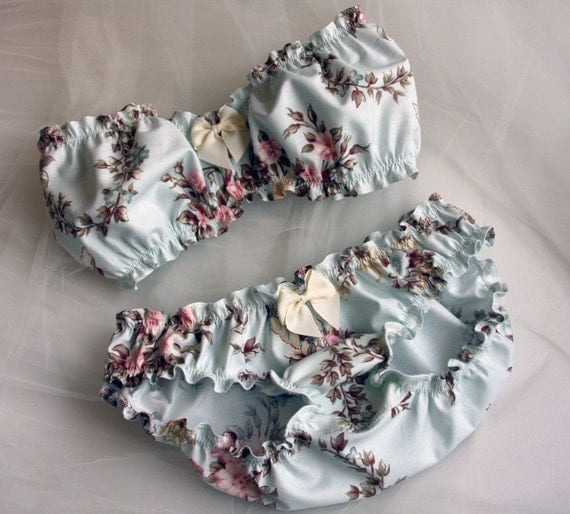 Light blue spring floral bandeau set - Made to order