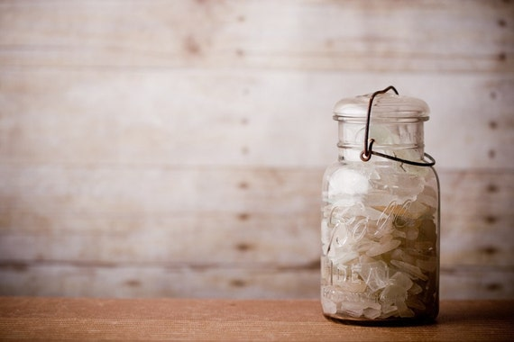 Beach Glass - Beach Cottage - Vintage Jar Filled with Sea Glass