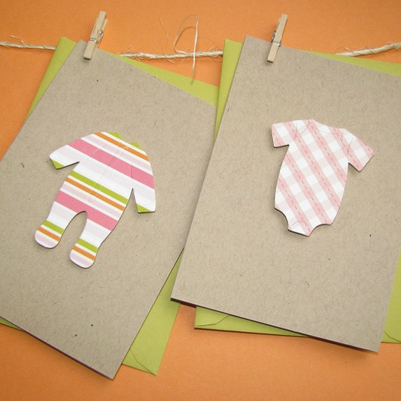 recycled baby laundry note set - pink and chartreuse onesies and sleepers on 100% reycled kraft stock