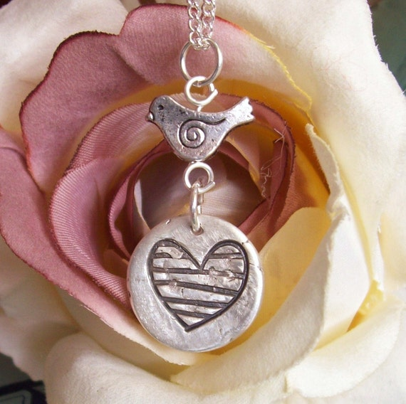Artisan Silver Jewelry, Silver Tweet Heart Necklace, Silver Heart Necklace