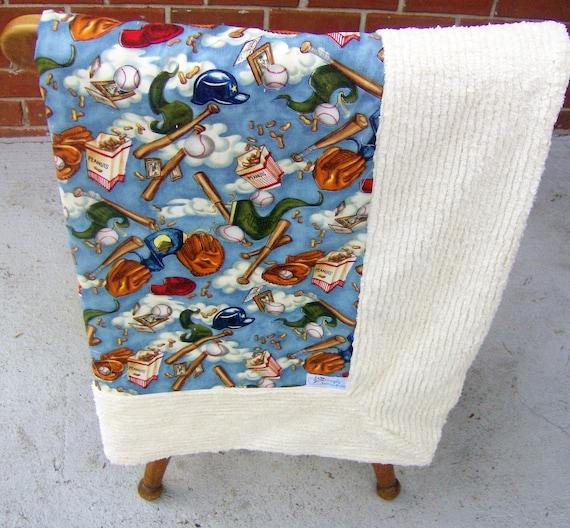 Baseball Print Stroller/Crib Blanket