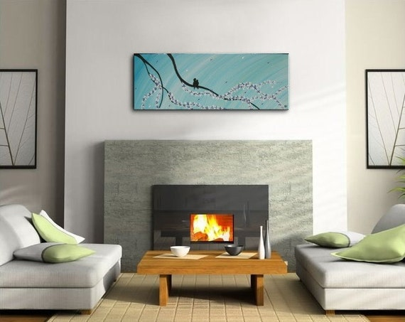 36x12 Original Modern Bird Painting Impasto Cherry Blossom Art Ships Immediately Turquoise and Blues