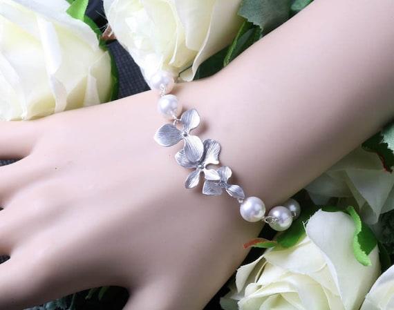 Triple Orchid flowers, ADJUSTABLE Bracelet,Swarovski Pearls sterling silver,flower girl jewelry, bridesmaid gifts, wedding bracelet