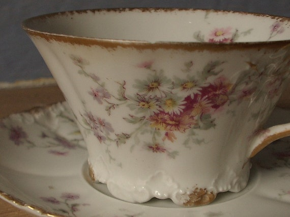 antique Limoges cup and saucer, Theodore Haviland, late 1800s to 1904