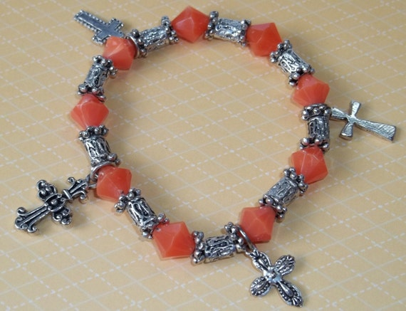 Orange and Silver Beaded Bracelet with Pewter Cross Charms
