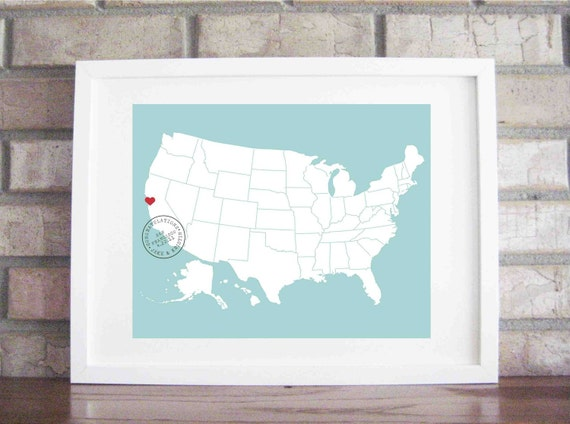 Custom Wedding / Anniversary Map and Stamp 11 x 14