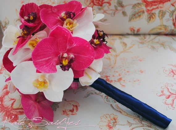 Fuchsia, Ivory and Navy Blue Real Touch Orchid Bouquet