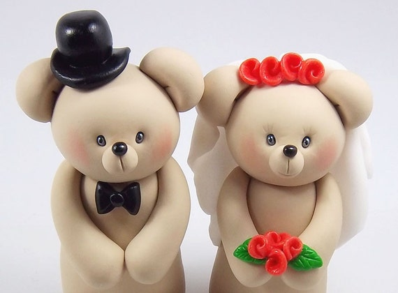 Smiling Teddy Bears Couple Polymer Clay Figurines - Personalized Wedding Cake Topper - Made To Order