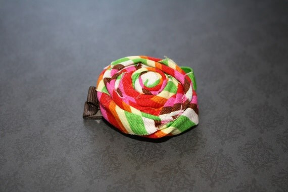 Rolled Fabric Rosette Hair Clip
