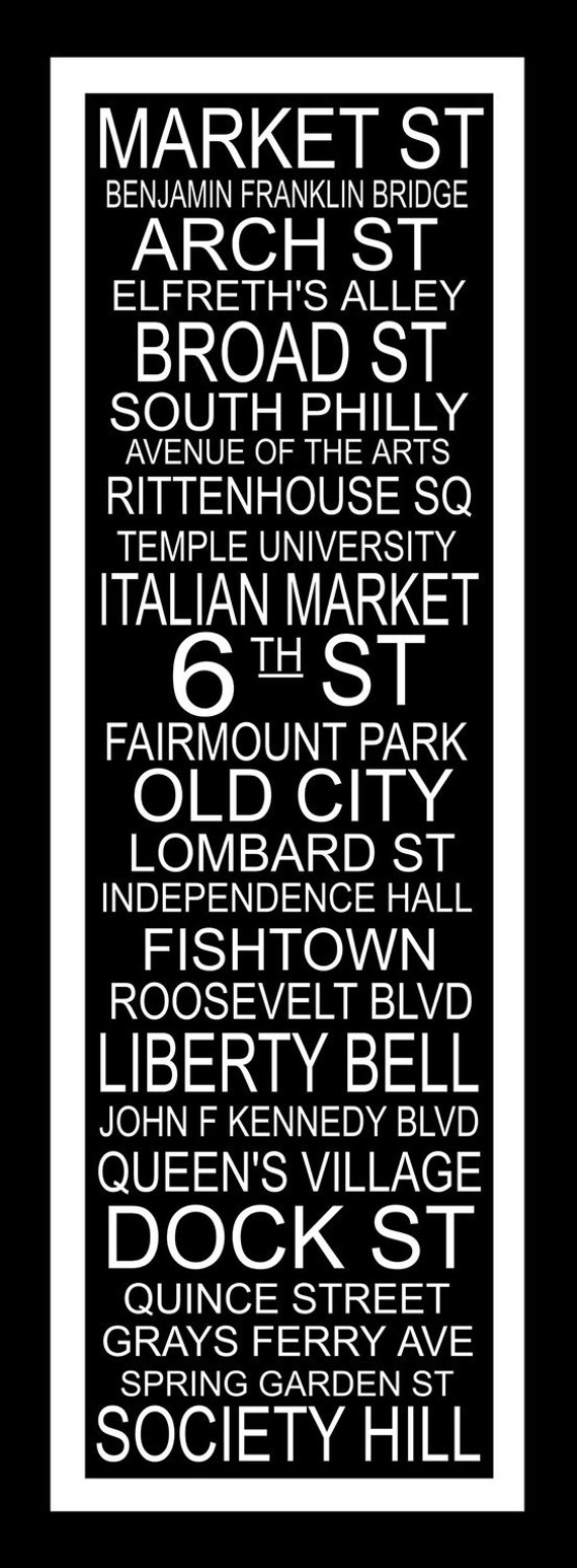 Subway Art Sign Philadelphia  Destination Typography Print 11.75x36