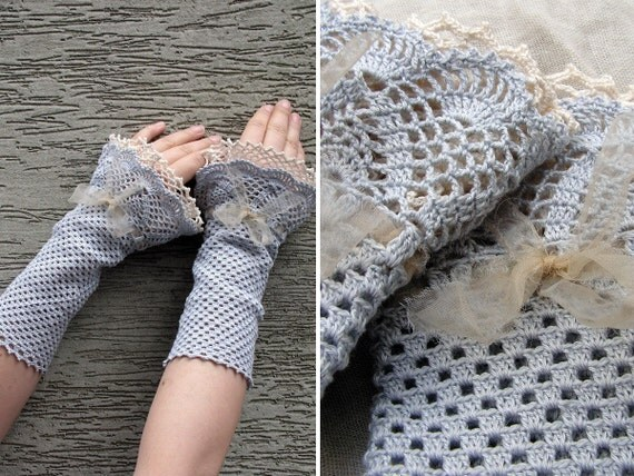 Lucrezia Borgia - crocheted open work lacy wrist warmers cuffs
