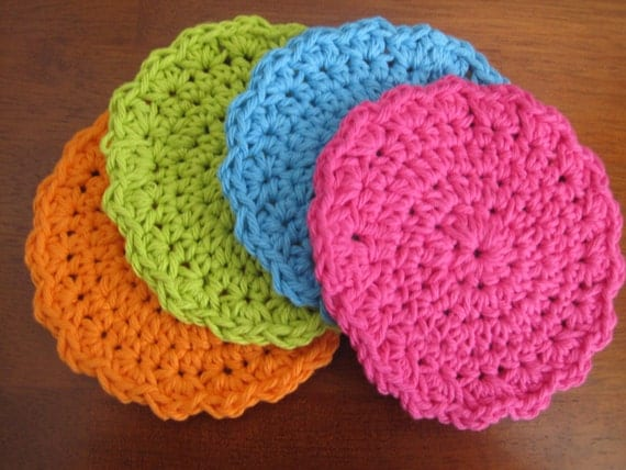 Set of Four Bright Cheerful Crocheted Coasters