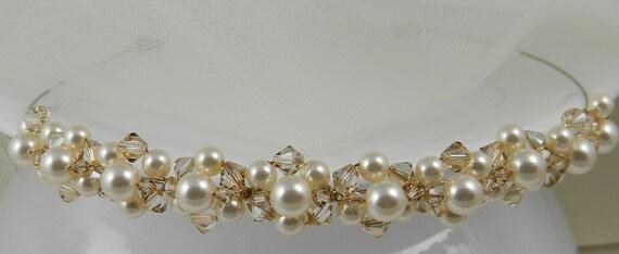 Bridal Tiara Headband Crystal Golden Shadow, Swarovski Austrian Crystal, Cream/Ivory Swarovski Pearls, Wedding, Headpiece
