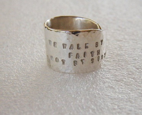 Silver Butter Knife Ring Hammered Stamped Bible Verse or Your Choice Stamping
