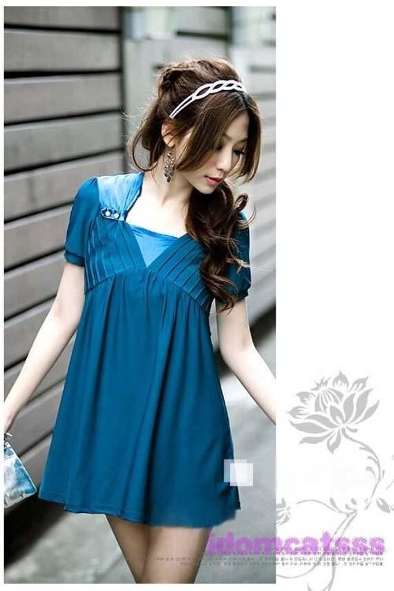 sleeveVintage لباس آبی کوتاه 30