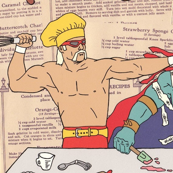 Classic wrestlers show it's a piece of cake to bake a pretty cake