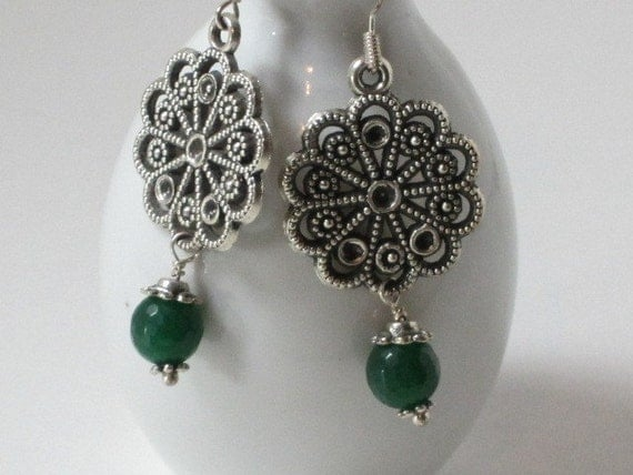 Pine On My Mind - silver filigree earring with green dangle