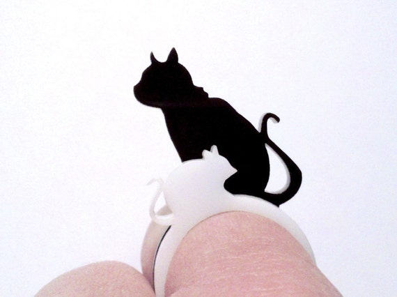 Katz und Maus - Lasercut Acrylic RingSet - Cat and Mouse
