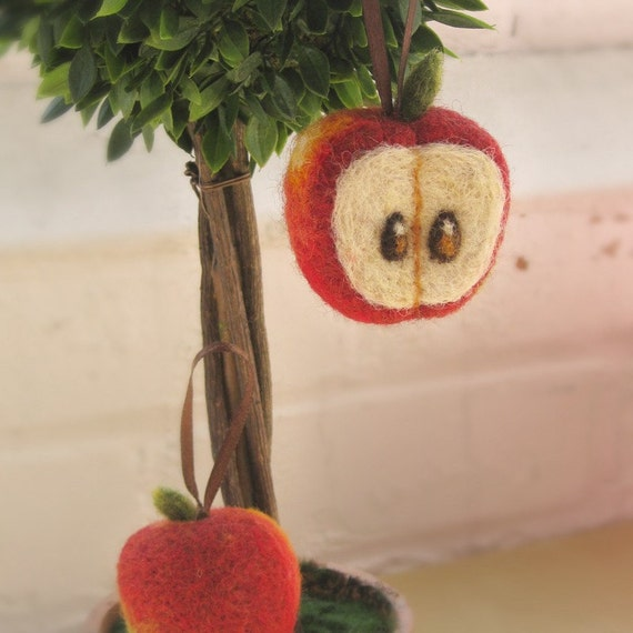 Needle Felted Apple Ornament