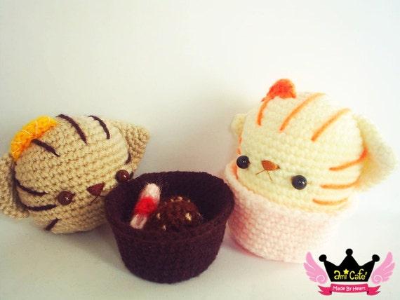 PDF Pattern - Orange Cat Cupcake Pattern
