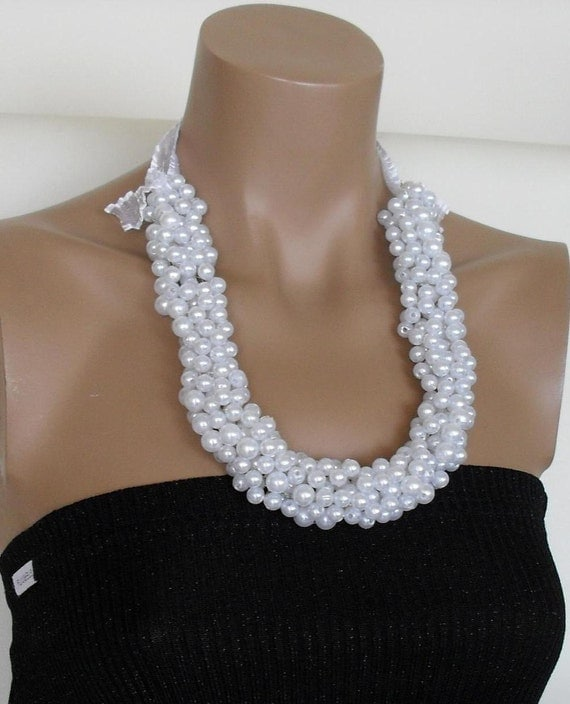 Handmade Wedding Bridal Pearl Elegant Necklace  by divaoutlet from etsy.com