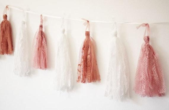 Hanging Lace Tassel Garland - White, Rose Pink & Vintage Rose