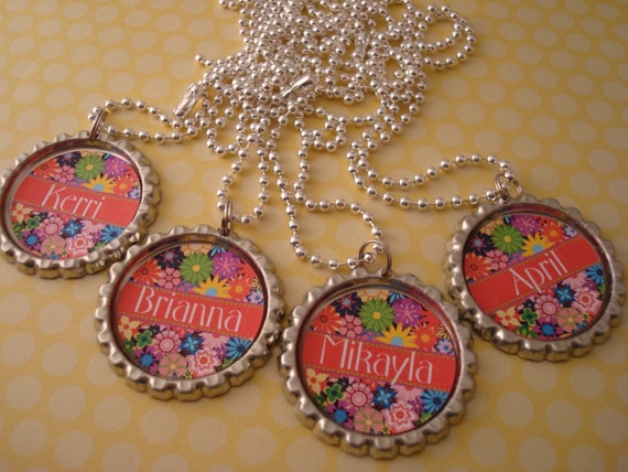 PERSONALIZED Beautiful Bouquet Bottlecap Necklace / Birthday Party Favor