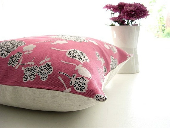 Embroidered flowers on  fuchsia pink satin pillow cover 18 inch