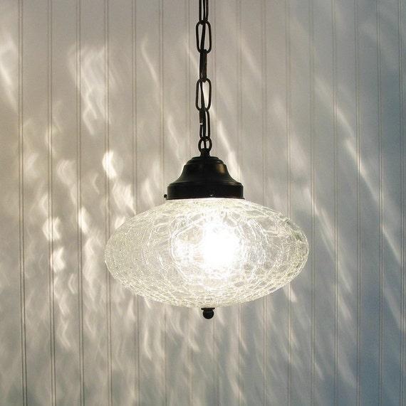 Kennibec. LARGE Retro Clear Crackle Glass PENDANT Light