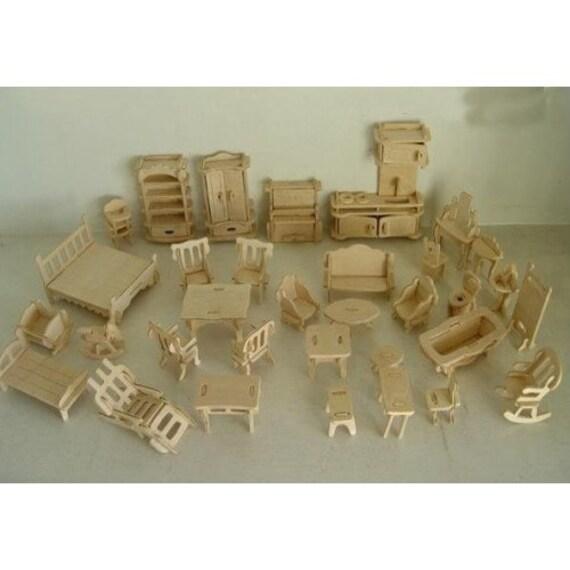 Dollhouse Miniature Mini Wooden Furniture DIY Kit 34pcs