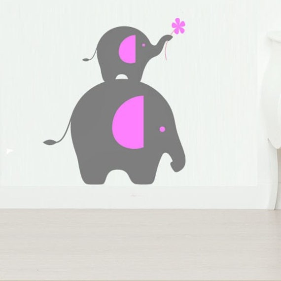 Elephant Pair  Vinyl Wall Decal Art - 2 Color