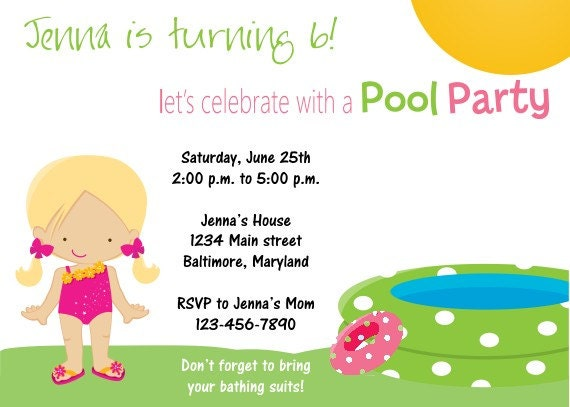 pool party invitations for girls. Printable Pool Party Birthday