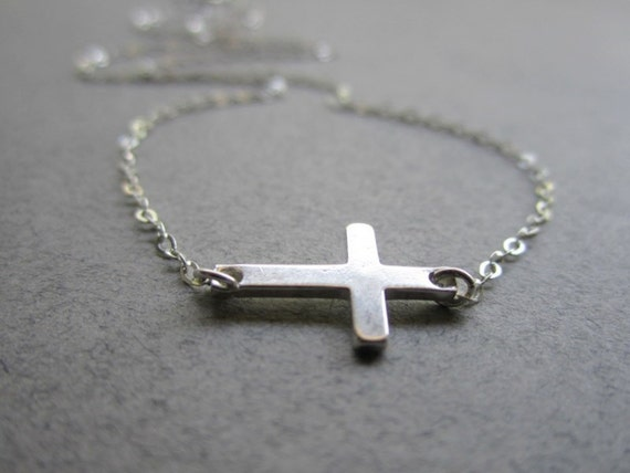 The Tiny Sideways Cross - All Sterling Silver