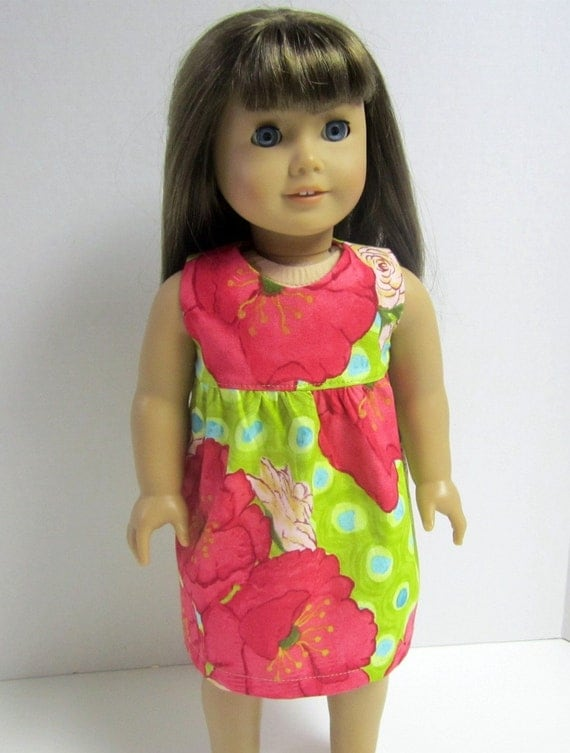 Simple Sun Dress for American Girl 18inch Doll in Laura Gunn Poppy by Crazy For Hue