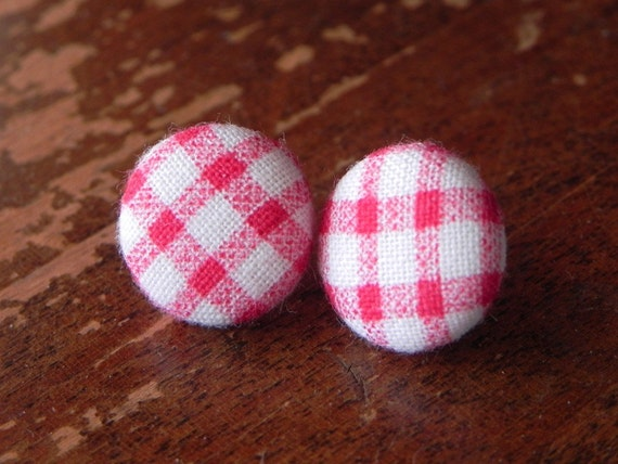 red & white plaid button earring