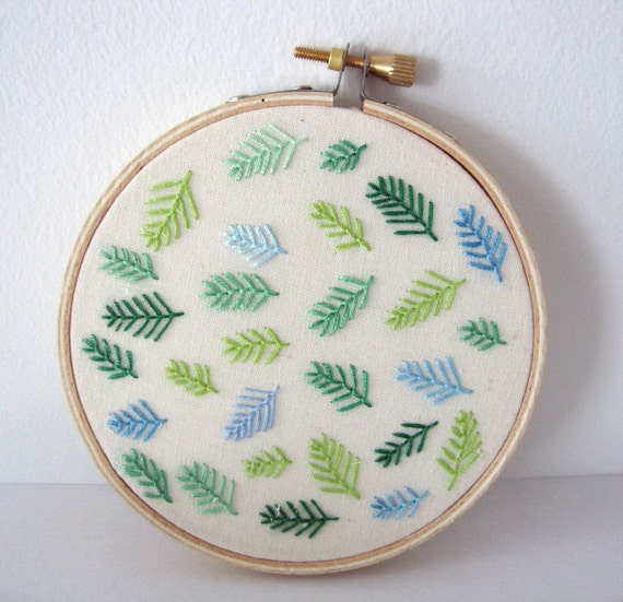ON SALE 30% OFF - Embroidery Hoop Art - Soft Pines