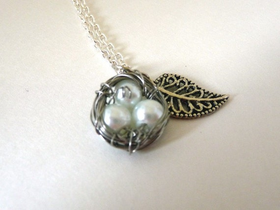 Sterling Silver Wire Wrapped Birdnest Pendant, White Glass Pearls, Leaf Charm