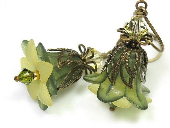 Olivine and Jonquil Vintage Style Lucite Flower Earrings