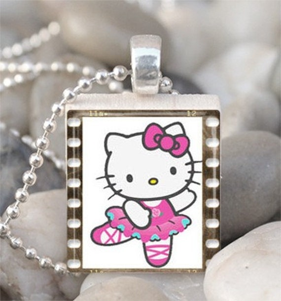 Hello Kitty Scrabble Tile Pendant With Ball Chain 1002