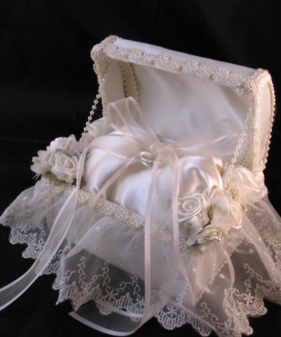 Ivory Satin Ring Bearer Chest with Lace