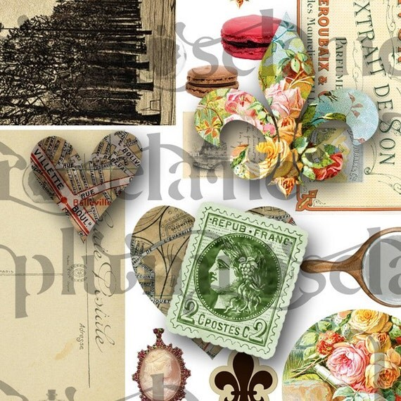 My Heart Belongs to Paris - Mix 1 - digital collage sheet