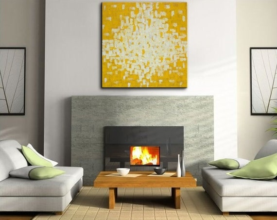 30x30 Bright Happy Modern Abstract Original Knife Painting Sunshine Yellow Uplifting Art