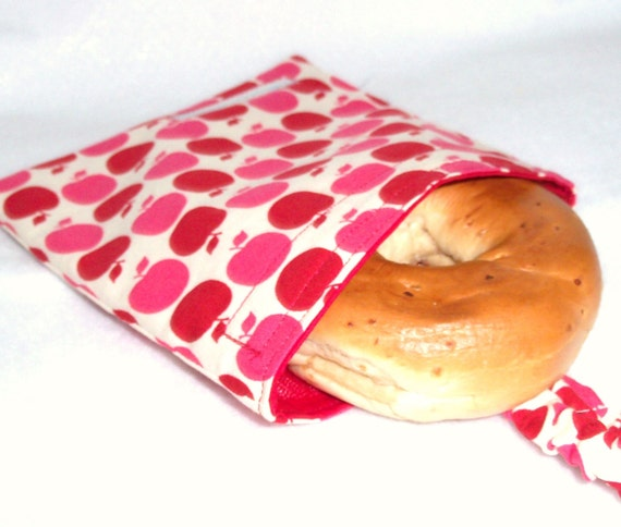 Earth Day SALE - 22% Off  Reusable, Eco-friendly Sandwich Bag (Red Farmer's Market Apples) - FREE SHIPPING on All Additional Items